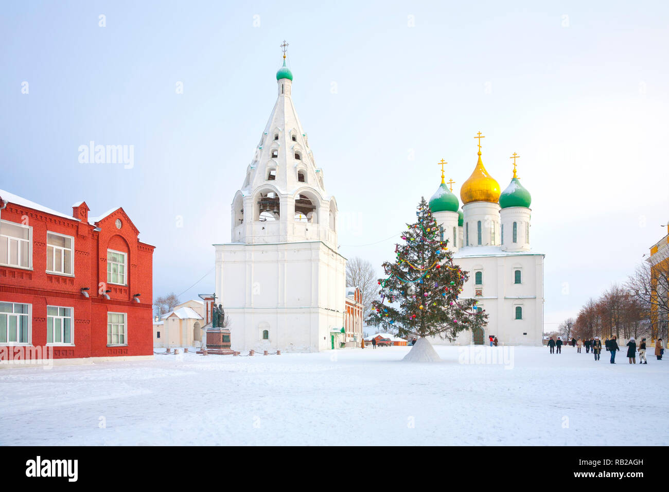 Historic temple complex on the territory of the Kremlin in the city of Kolomna. Assumption Cathedral and Assumption Tent Belfry Stock Photo