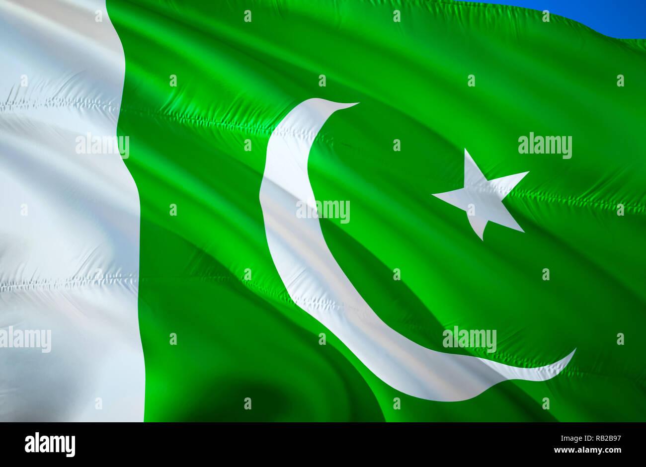 565c12e0b8 Pakistan flag. 3D Waving flag design. The national symbol of Pakistan, 3D  rendering