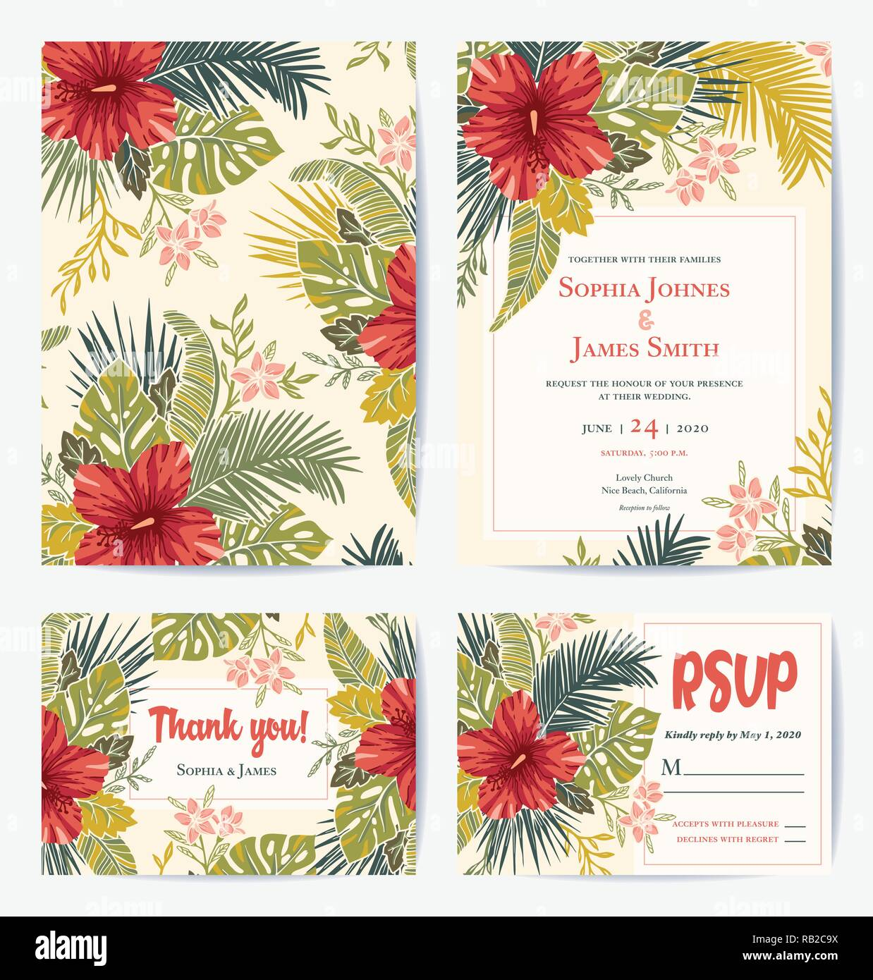 Vector Retro Vintage Bold Tropical Wedding Invitation Thank You