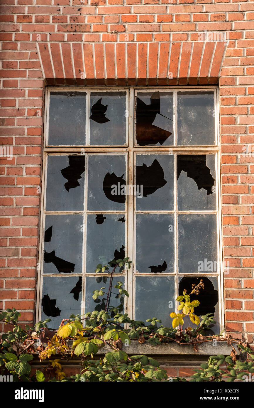 Old destroyed brick house ruin with broken windows - Stock Image