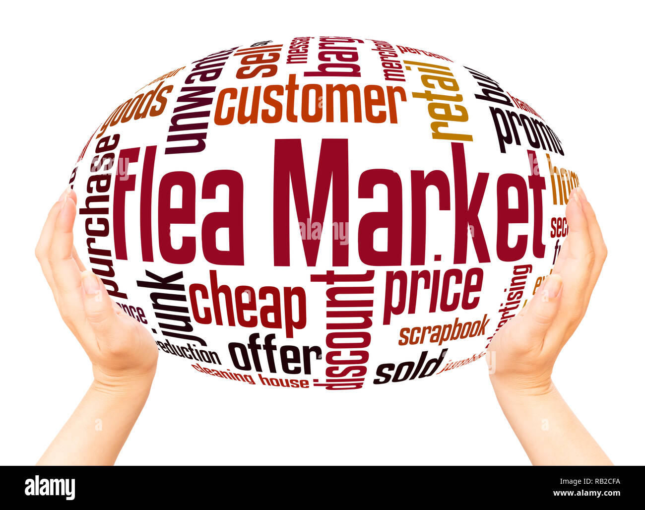 Flea Market word cloud hand sphere concept on white background. - Stock Image