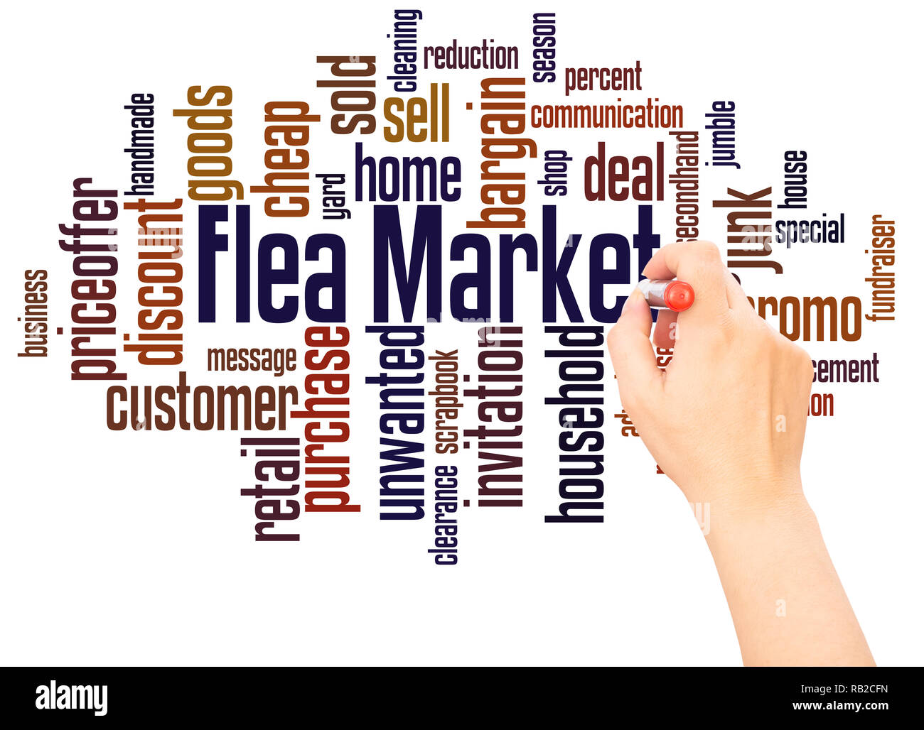 Flea Market word cloud hand writing concept on white background. - Stock Image