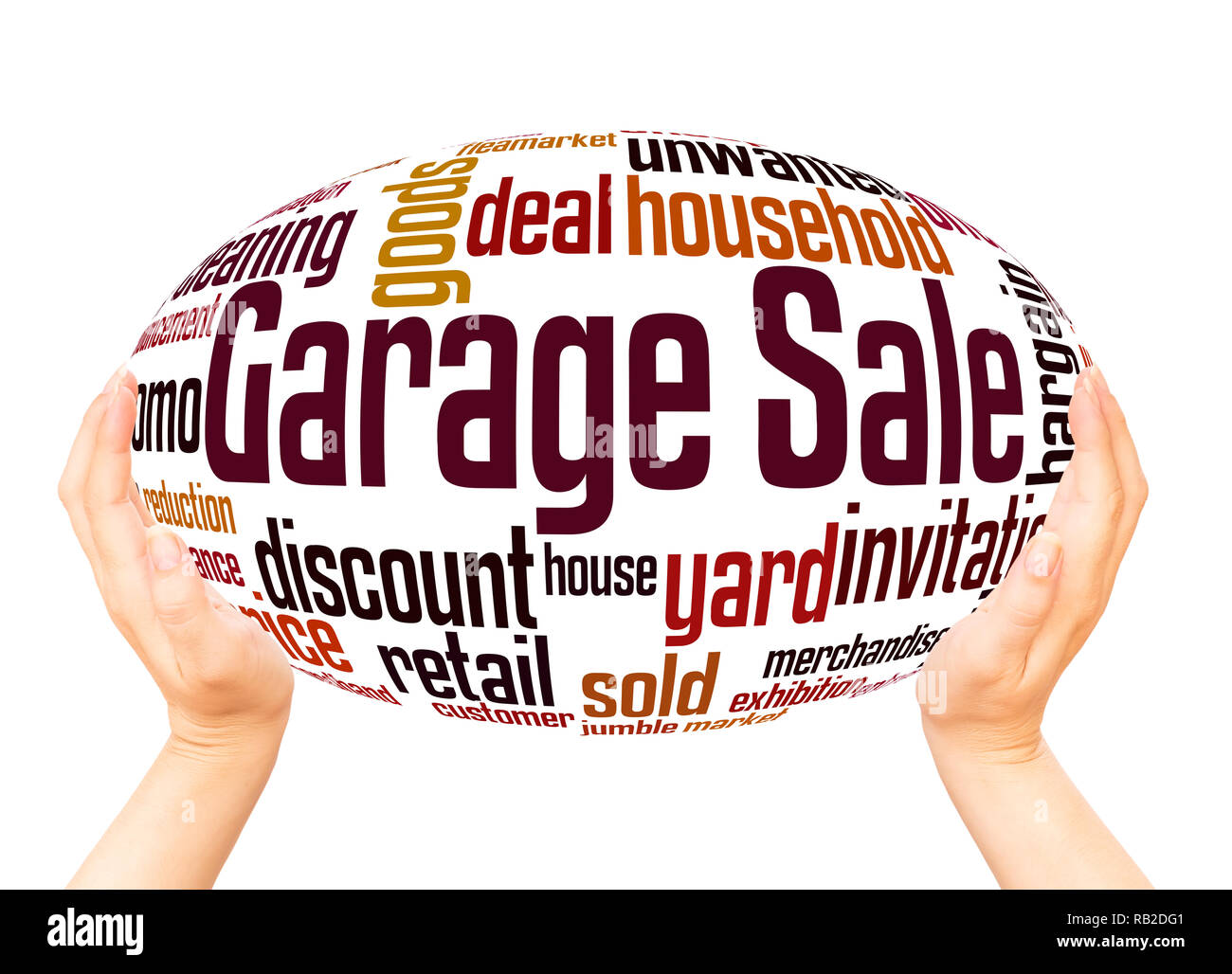Garage Sale word cloud hand sphere concept on white background. - Stock Image