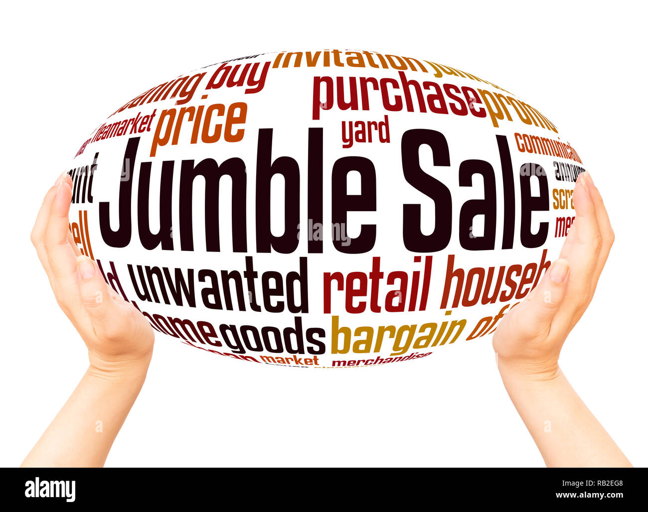 Jumble Sale word cloud hand sphere concept on white background. Stock Photo