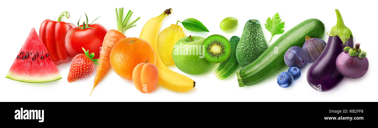 Isolated fruits in a line. Rainbow made of fresh fruits and vegetables isolated on white background with clipping path Stock Photo