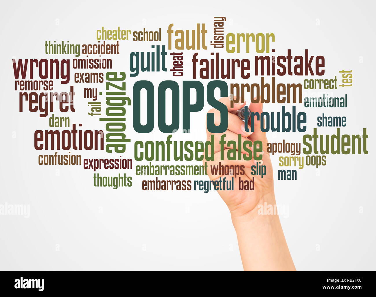 OOPS word cloud and hand with marker concept on white background. - Stock Image