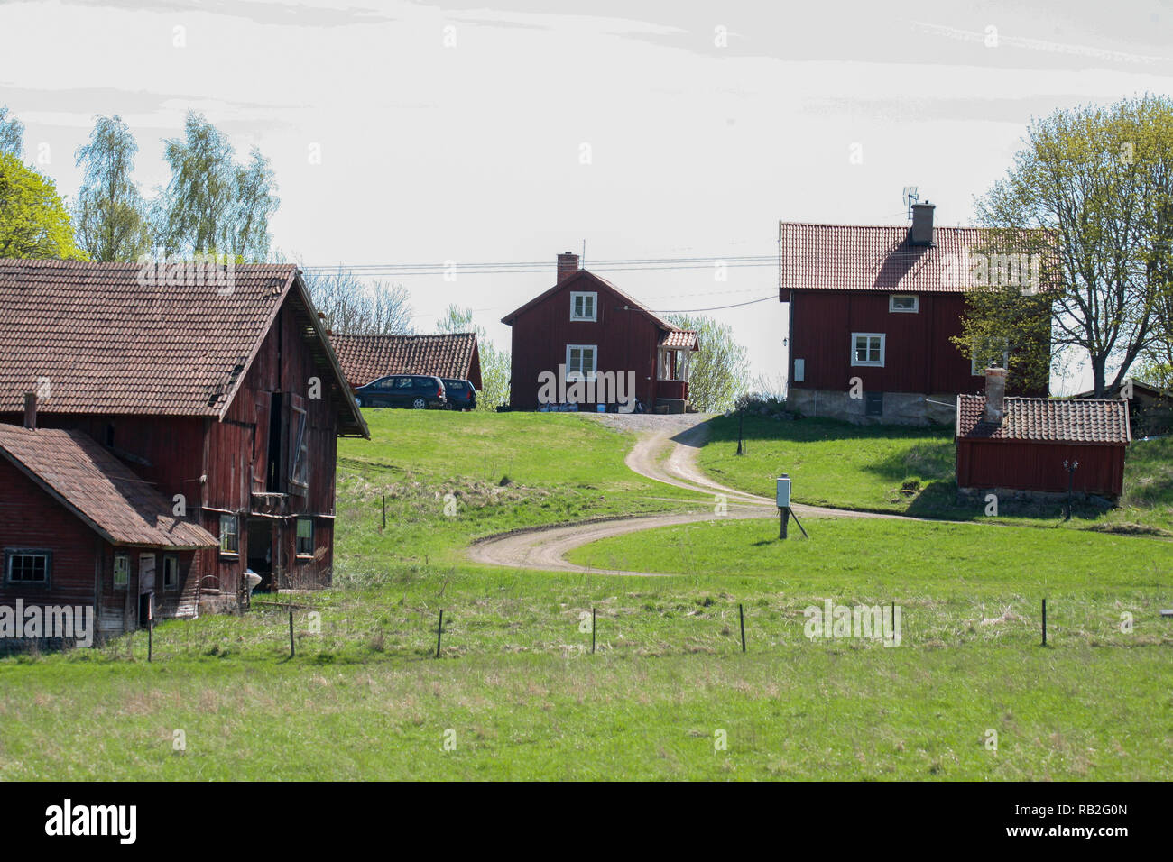 SMALL FARMS ind the Swedish countryside - Stock Image