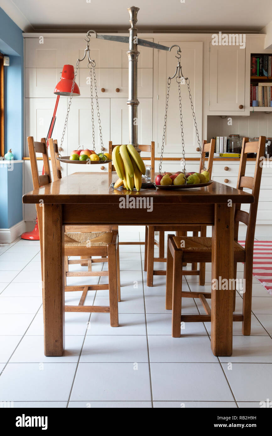 Dining table in open plan living area. Harpsden, Oxfordshire, UK Stock Photo