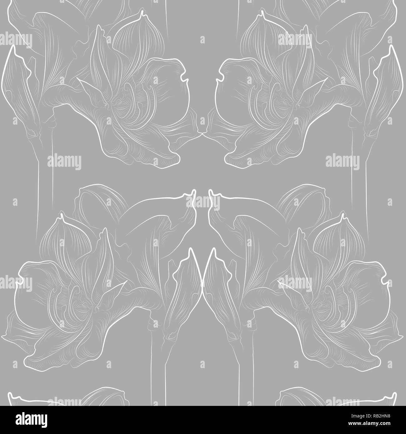 Delicate amaryllis seamless pattern in grey and white - Stock Vector