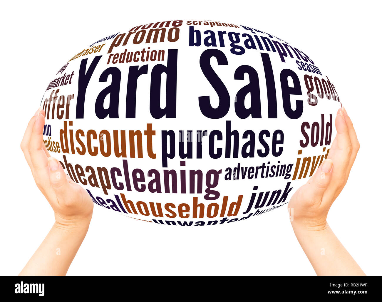 Yard Sale word cloud hand sphere concept on white background. Stock Photo