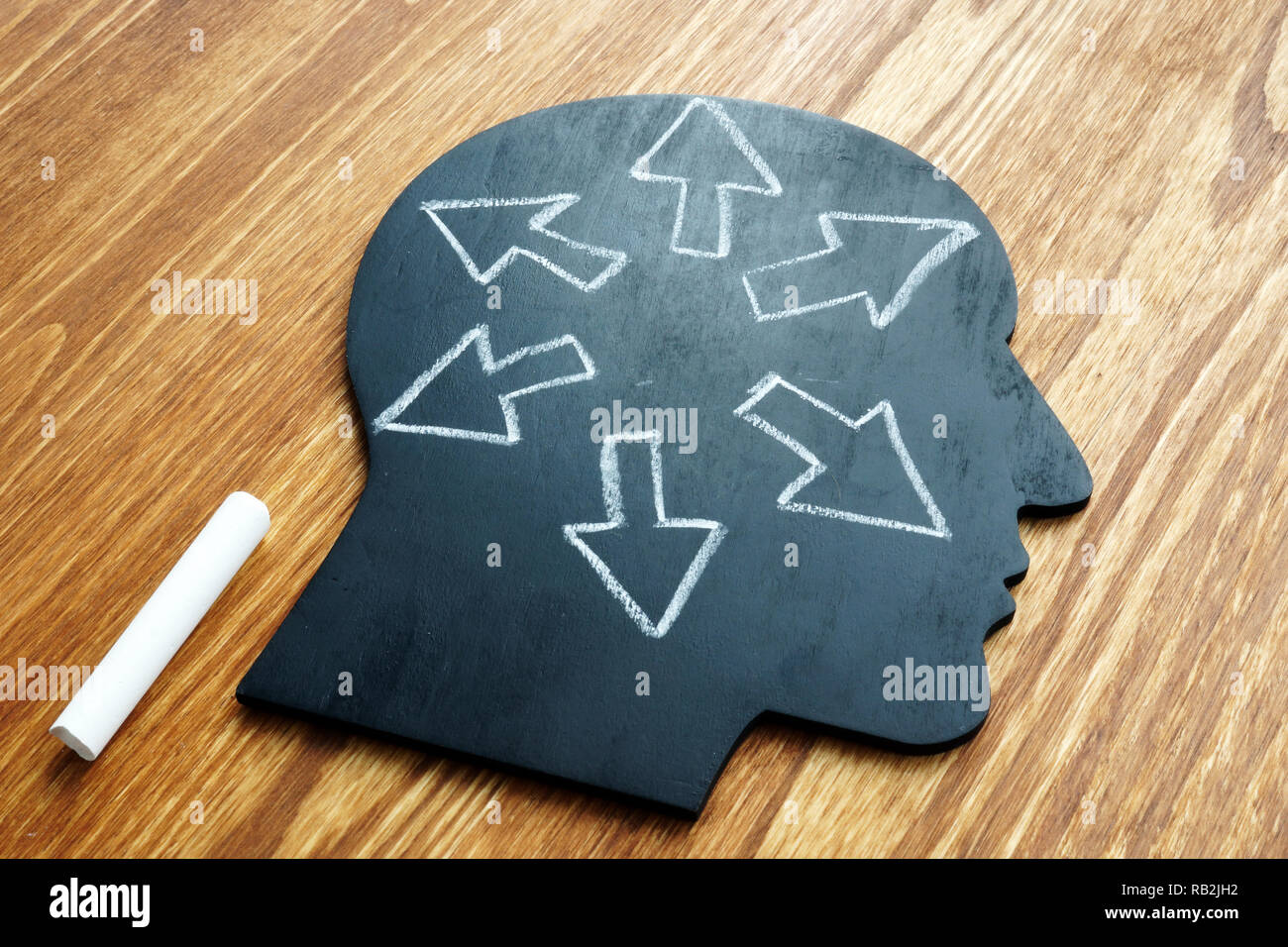 Emotional intelligence. Head shape and arrows. Extrovert concept. - Stock Image