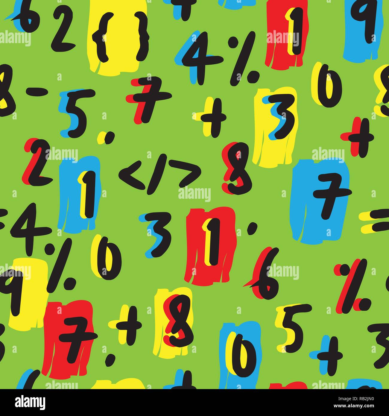 Colorful Mathematical Numbers Hand Drawn Seamless Pattern on Green - Stock Image