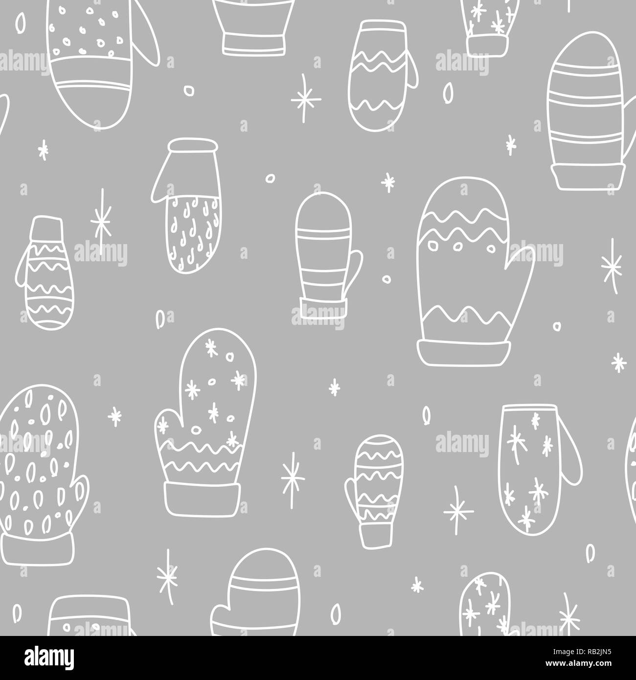 Simple Mittens Drawing Seamless Pattern For Christmas Time