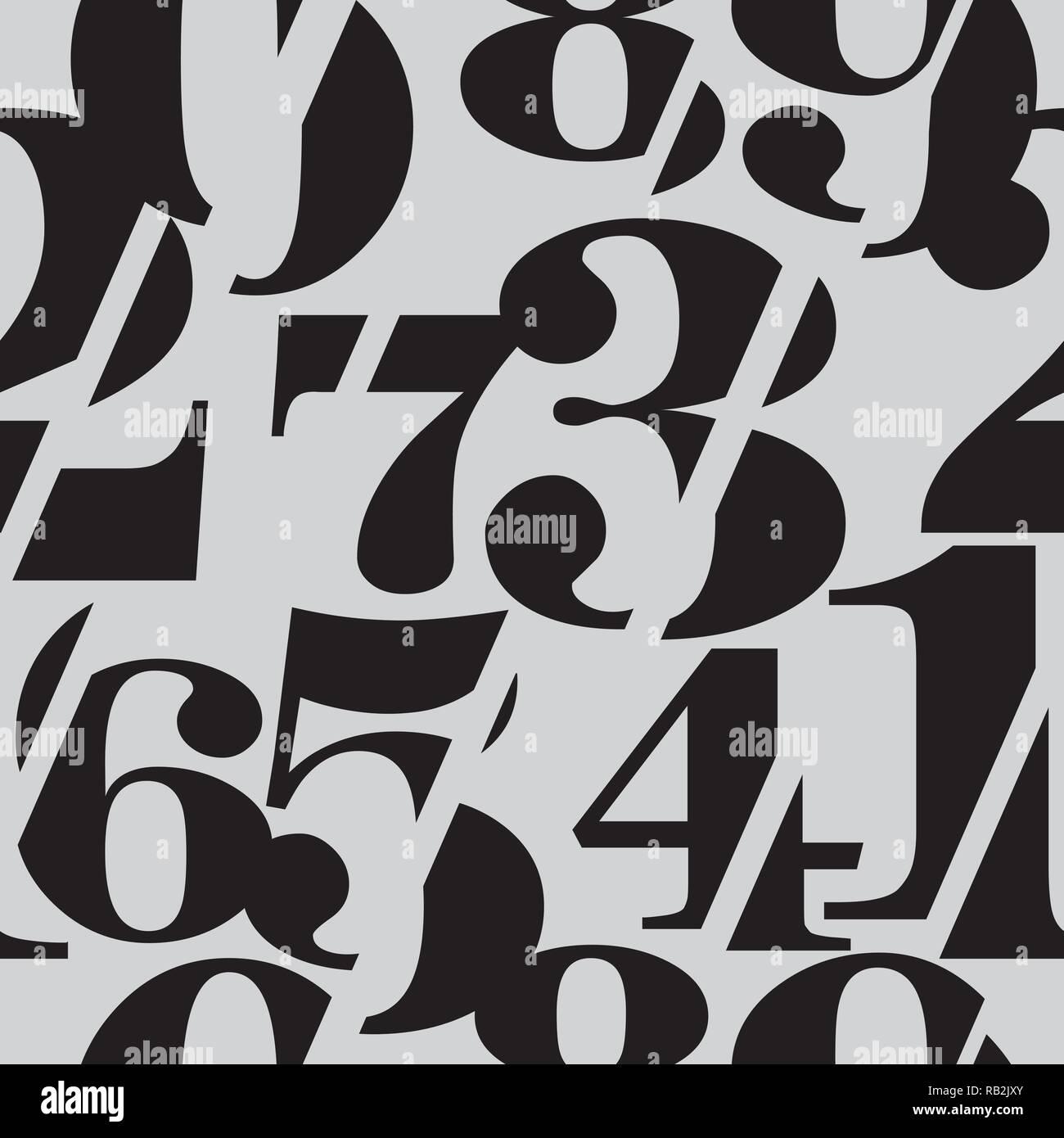 Sliced Serif Numbers Seamless Pattern - Stock Image