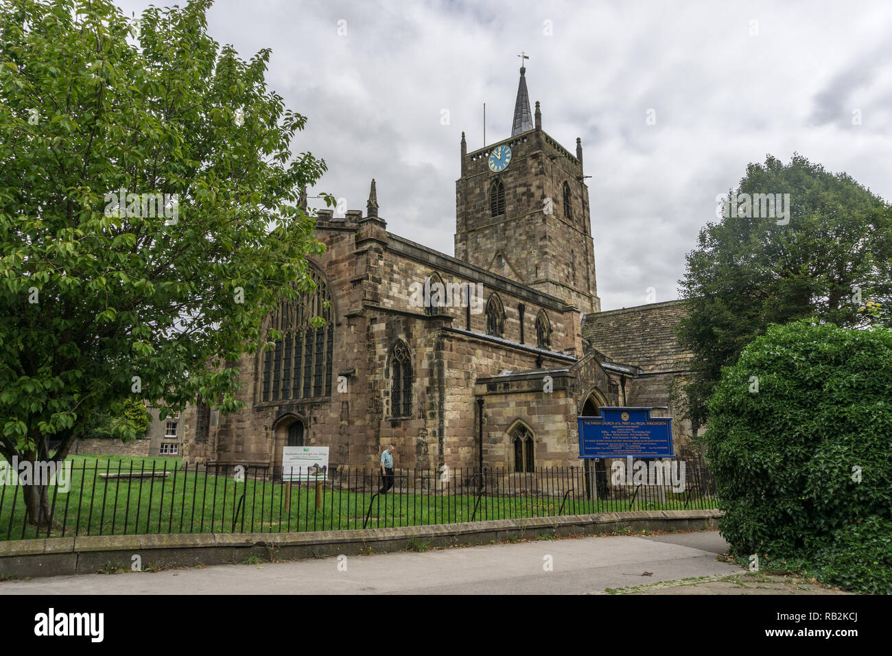 St Mary's church Wirksworth, Derbyshire, UK; mostly 13th century with some Anglo Saxon survivals, restored ion 1870 by Sir Gilbert Scott. - Stock Image
