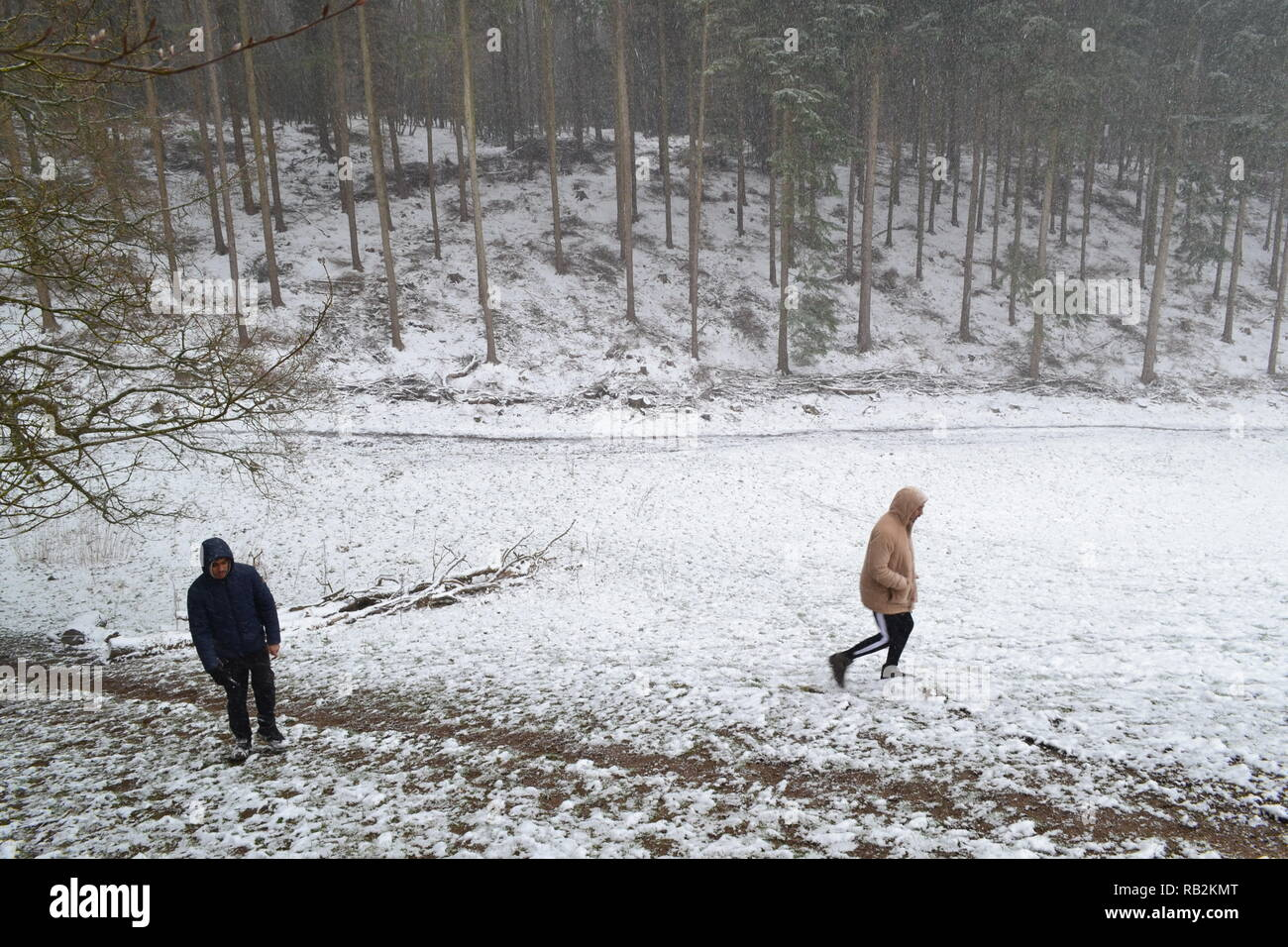 Young men walking in snow through Squerryes Park between Westerham, Hosey Common and Chartwell in Kent. March 2018 - Stock Image