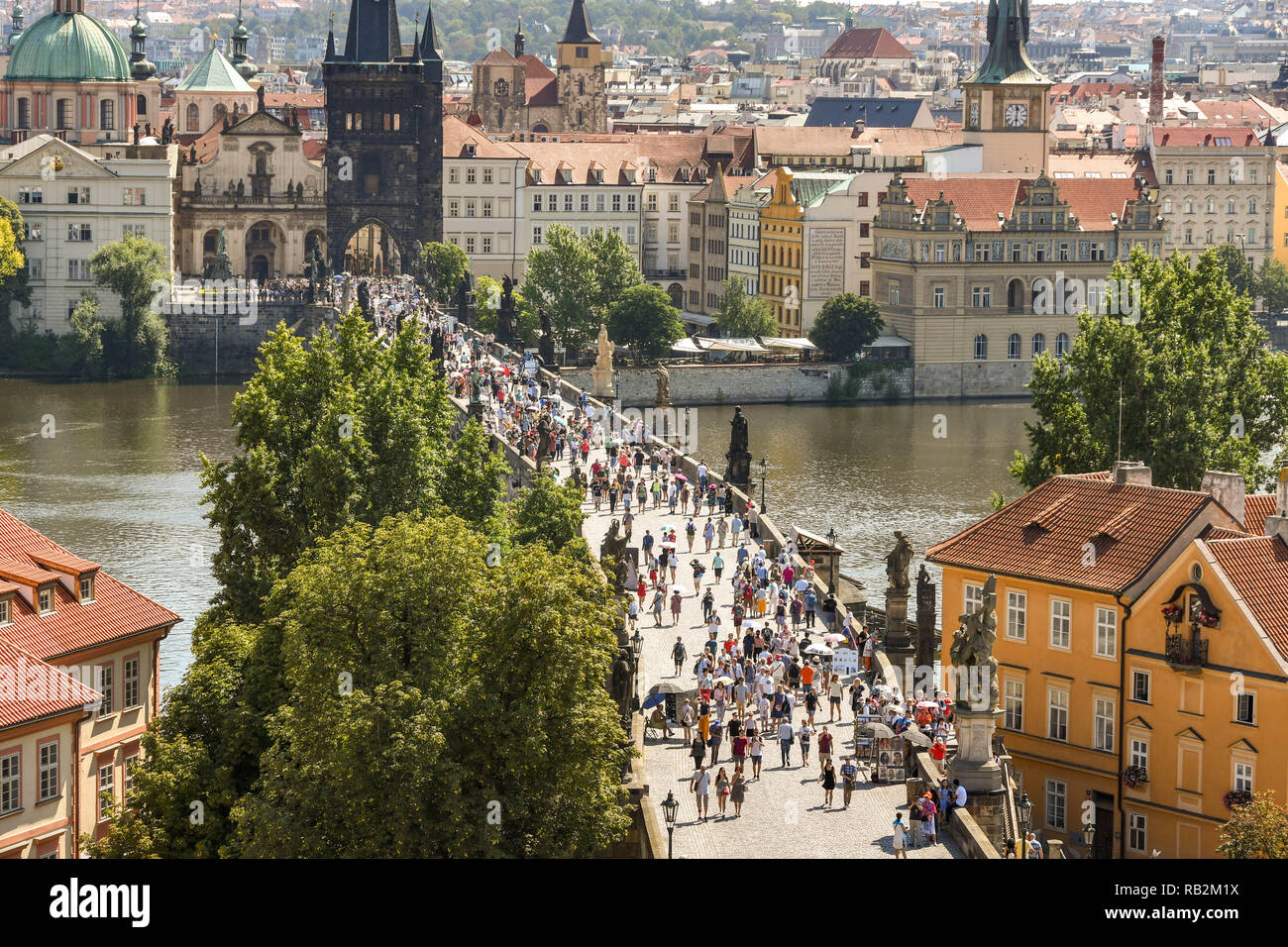 PRAGUE, CZECH REPUBLIC - JULY 2018: Aerial view of the Charles Bridge in Prague from from the top of the Lesser Town Bridge Tower. Stock Photo