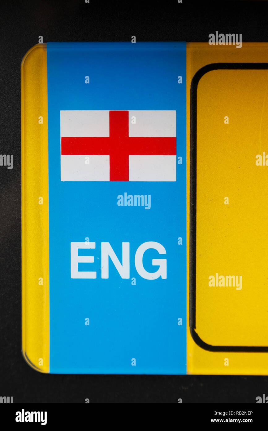 English flag on a car number plate Stock Photo