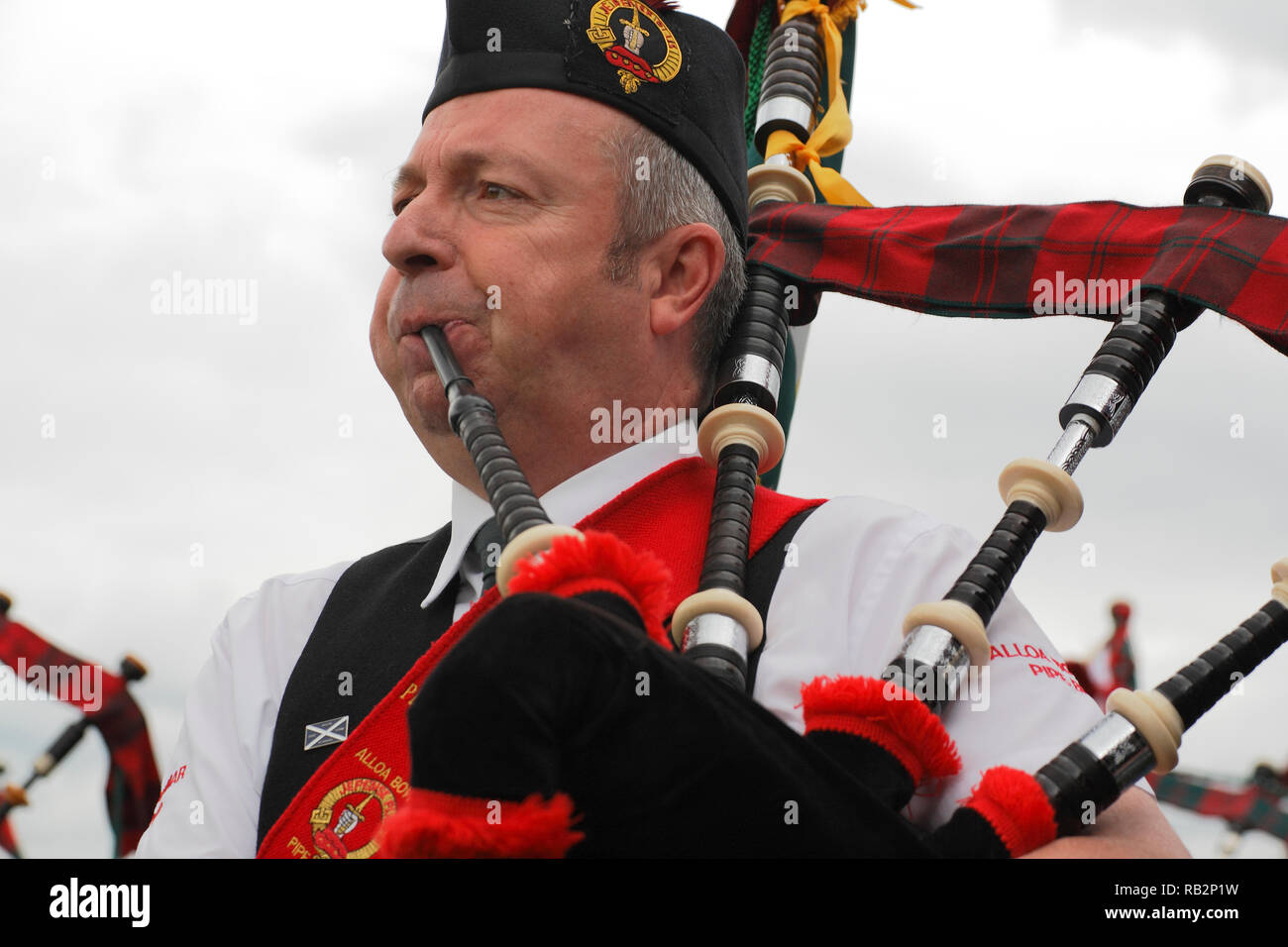 The Great Highland Bagpipe played at Highland games Stock Photo