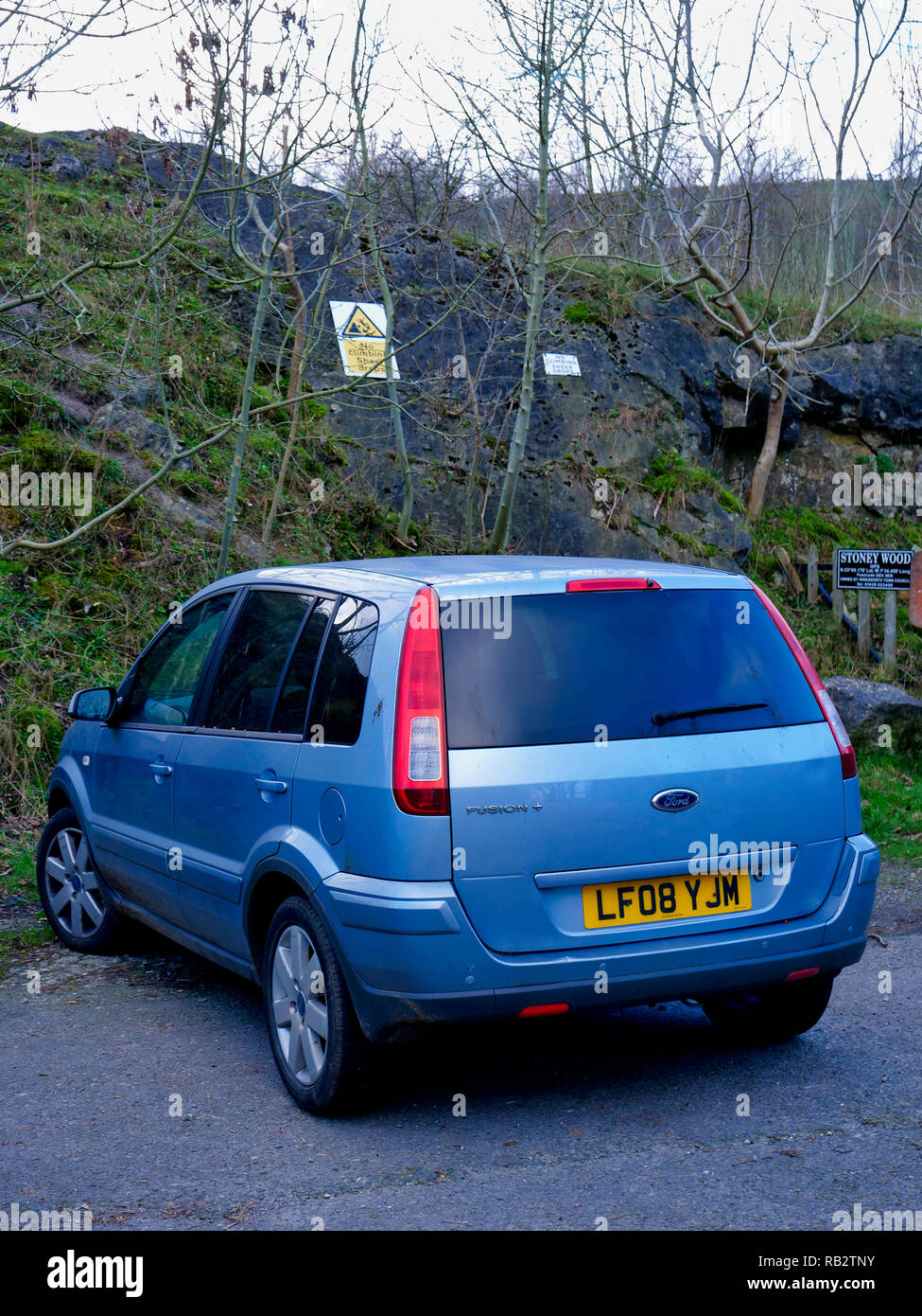 Derbyshire, UK. 06th Jan, 2019. An abandoned light blue Ford Fusion + car parked at Stoney Wood entrance, Wirksworth, Derbyshire, since the New Year has been reported to the Police as possible missing persons or abandoned vehicle, it's near the potentially dangerous old Tarmac Middle Peak Quarry workings Credit: Doug Blane/Alamy Live News Stock Photo
