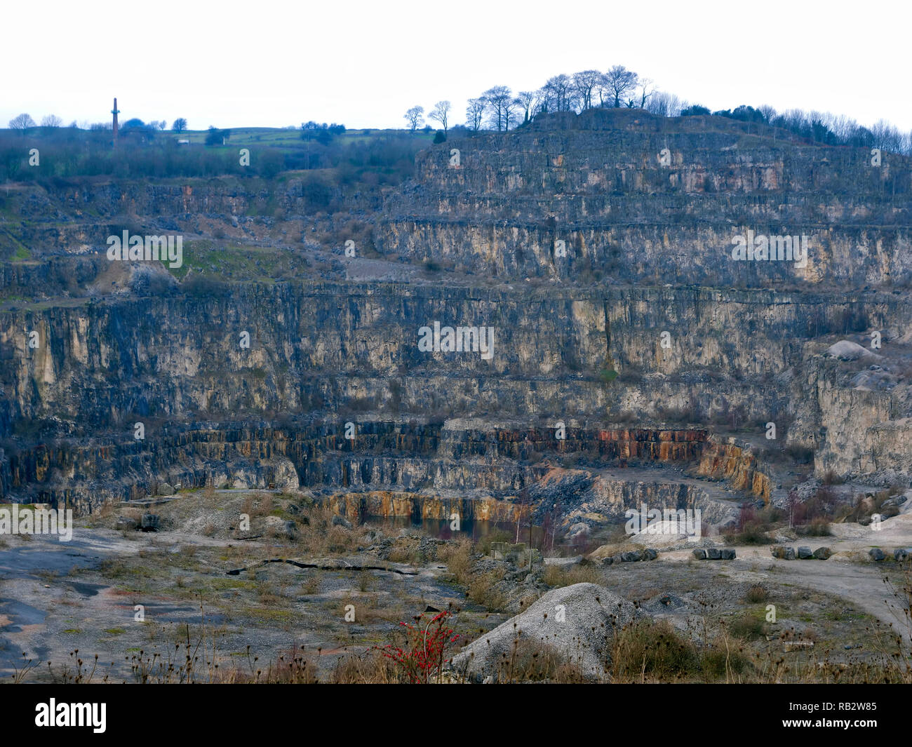 Derbyshire, UK. 06th Jan, 2019. Dangerous old Tarmac Middle Peak Quarry workings  near an abandoned light blue Ford Fusion + car parked at Stoney Wood entrance, Wirksworth, Derbyshire, since the New Year has been reported to the Police as possible missing persons or abandoned vehicle Credit: Doug Blane/Alamy Live News - Stock Image