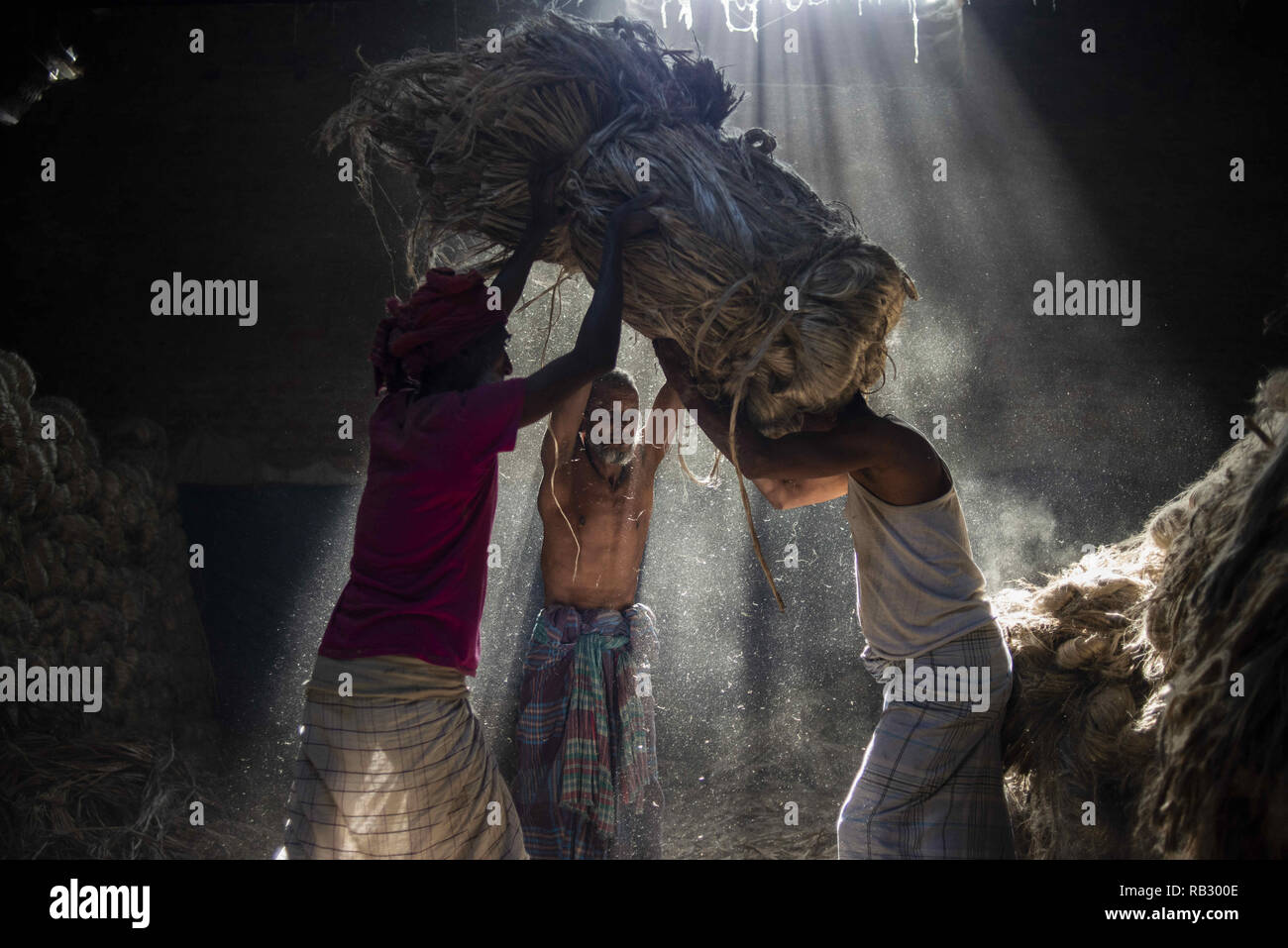 Narayanganj, Bangladesh. 6th Jan, 2019. Jute mill workers seen helping each other while working.Bangladesh is known for its Jute. In recent years Bangladesh and many other countries considered jute as the new possibility of replacing many daily goods and making bags out of jute to replace plastics. Credit: Ziaul Haque Oisharjh/SOPA Images/ZUMA Wire/Alamy Live News - Stock Image