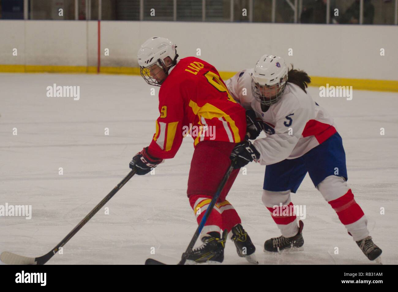 Dumfries, UK. 6 January 2019. Zifei Liao of China and Eloise Jure of France battling for the puck during their match in the 2019 Ice Hockey U18 Women's World Championship, Division 1, Group B at Dumfries Ice Bowl. Credit: Colin Edwards/Alamy Live News. - Stock Image