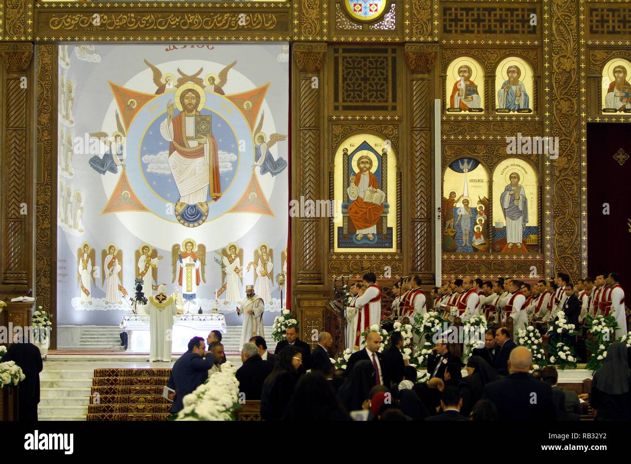 Eastern Orthodox Christmas.Cairo Egypt 06th Jan 2019 Deacons And Clergymen Are Seen