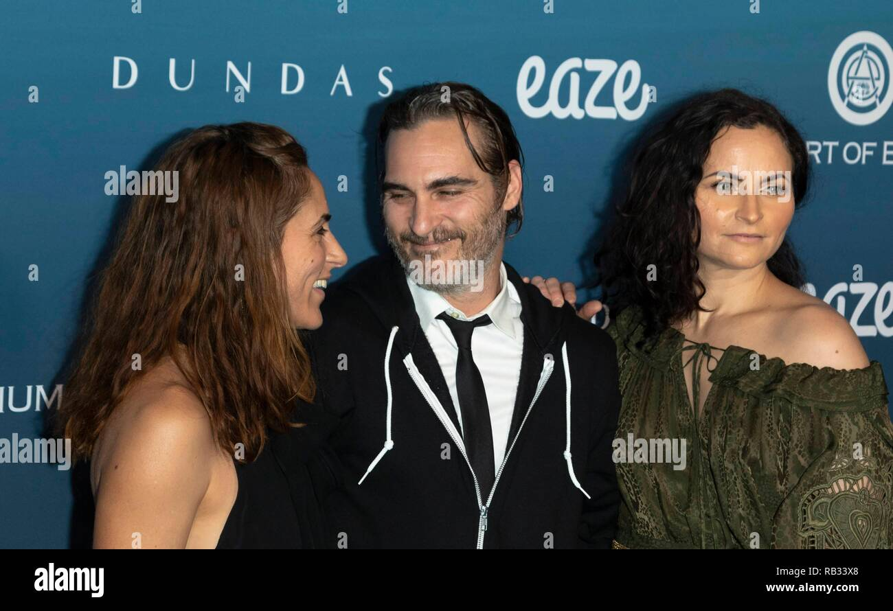 Los Angeles, USA. 05th Jan, 2019. Summer Phoenix (l-r), Joaquin Phoenix and Rain Phoenix attend The Art of Elysium's 12th Annual Celebration - Heaven in Los Angeles, California, USA, on 05 January 2019. | usage worldwide Credit: dpa picture alliance/Alamy Live News - Stock Image