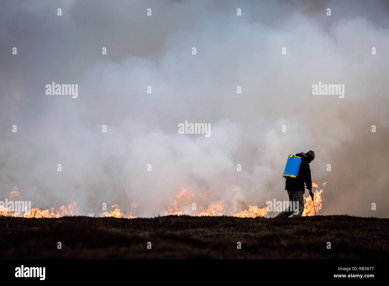 Heather moorland burning in small areas of the Pennine moors on a rotational basis in the winter months to create a habitat for grouse for shooting. Stock Photo