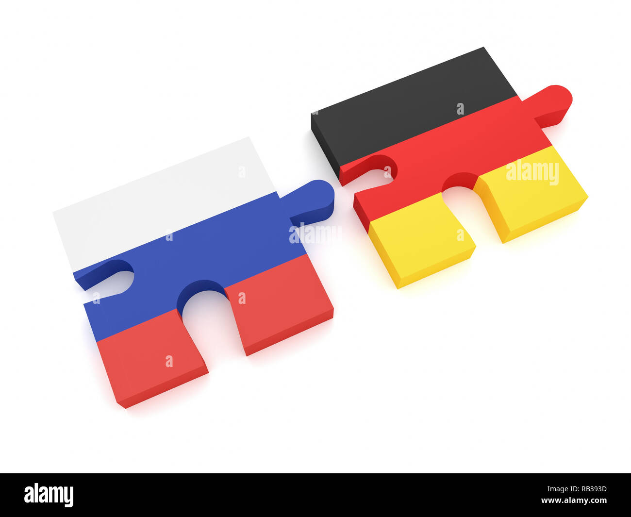 Russia Germany Partnership: Russian Flag And German Flag Puzzle Pieces, 3d illustration on white background - Stock Image