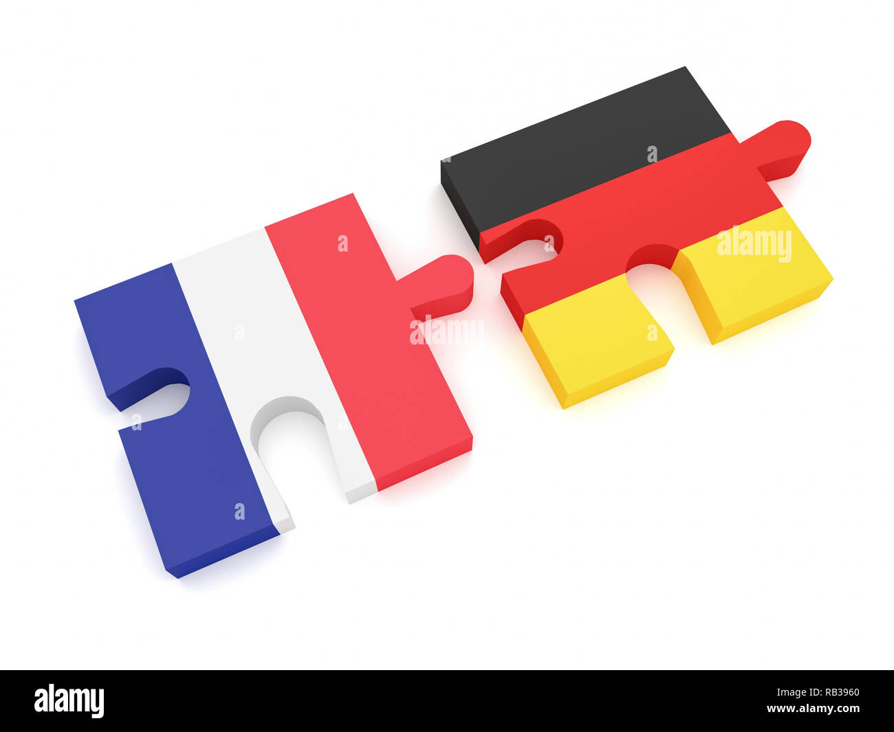 Germany France Partnership: German Flag And French Flag Puzzle Pieces, 3d illustration on white background - Stock Image