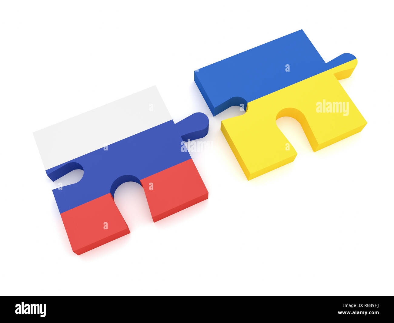 Russia And Ukraine: Russian Flag And Ukrainian Flag Puzzle Pieces, 3d illustration on white background - Stock Image
