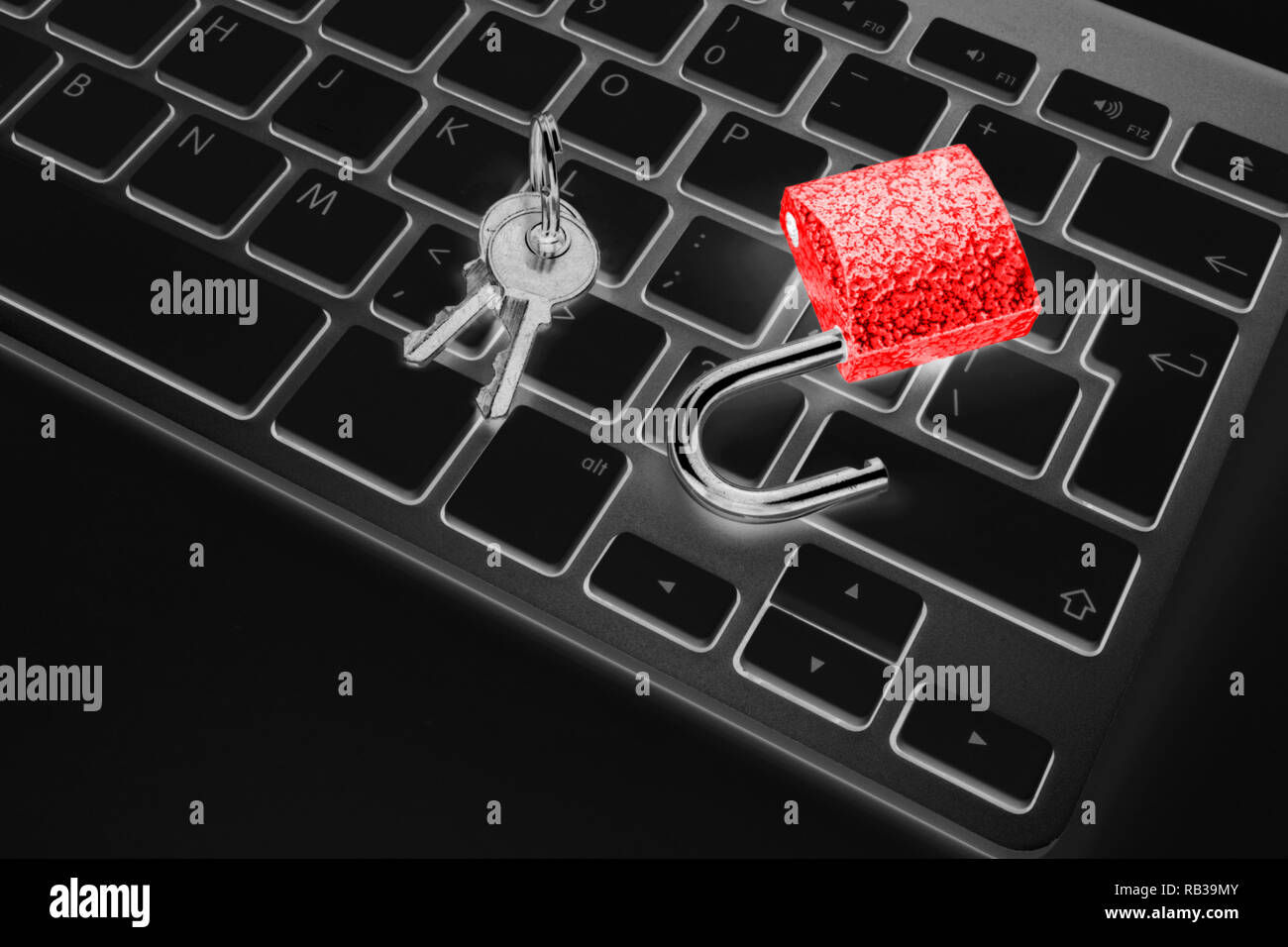 Locked computer safe from virus or malware attack. Laptop computer being protected from online cyber crime and hacking. Computer security concept with - Stock Image
