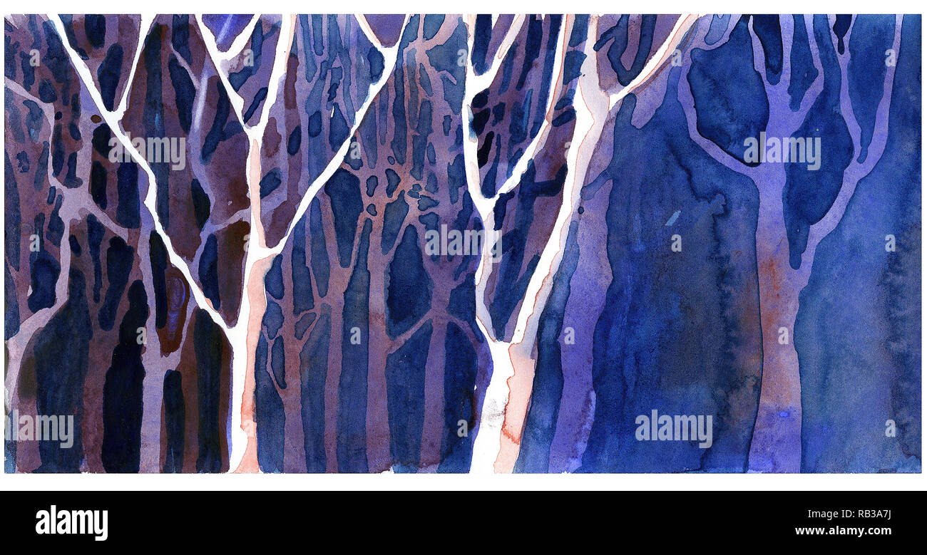 Watercolor Painting Of Trees In Forest Landscape Painting Of Trees In Forest Stock Photo Alamy
