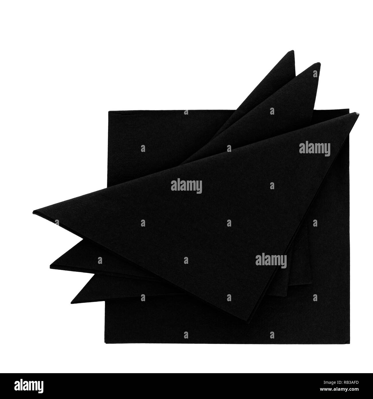 Black paper serviettes, napkins isolated on white. For funeral, wake etc. - Stock Image