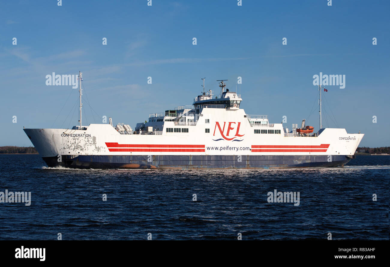 CARIBOU, CANADA - MAY 08, 2015: MV Confederation ferry crossing between PEI and NS. Northumberland Ferries Limited is a Canadian ferry company with it Stock Photo