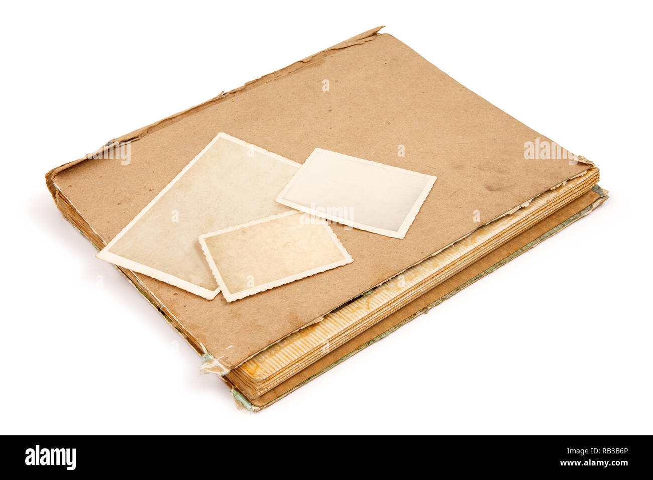 Photo Album with old photos, all photos have been evacuated, so you can use the photo frame and put your photo in. - Stock Image