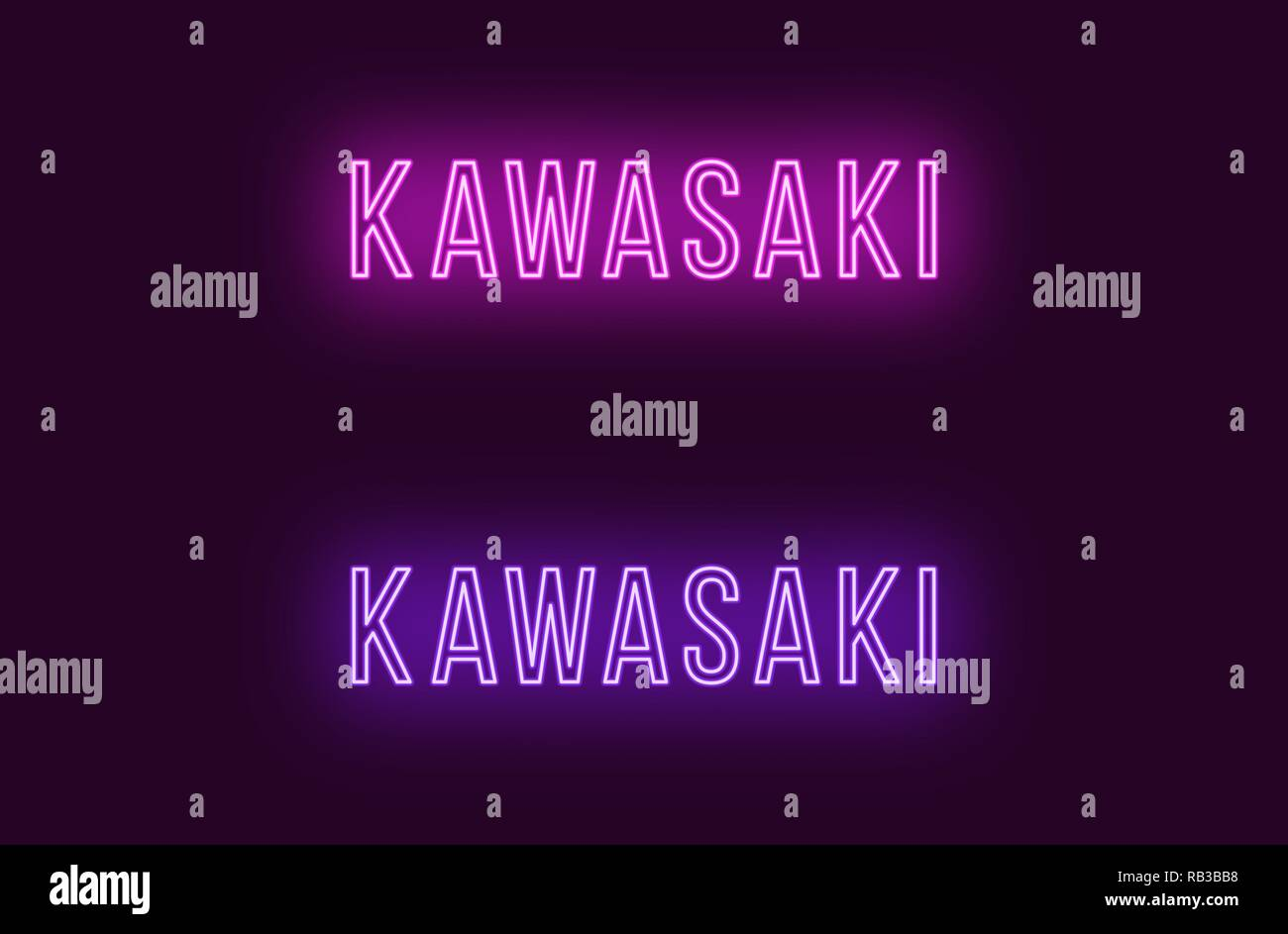 Neon name of Kawasaki city in Japan. Vector text of Kawasaki, Neon inscription with backlight in Thin style, purple and violet colors. Isolated glowin - Stock Vector