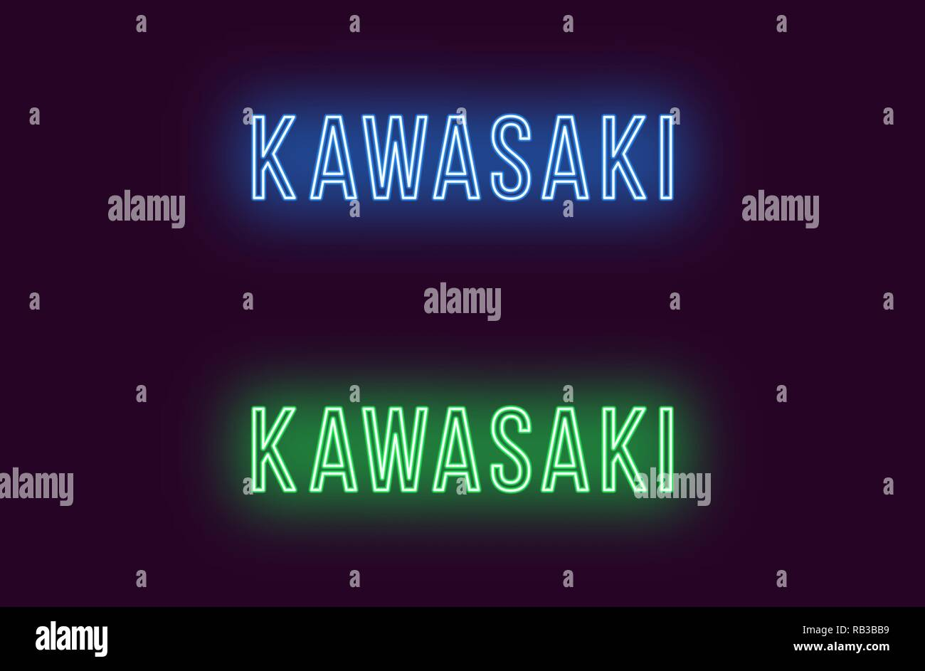 Neon name of Kawasaki city in Japan. Vector text of Kawasaki, Neon inscription with backlight in Thin style, blue and green colors. Isolated glowing t - Stock Vector