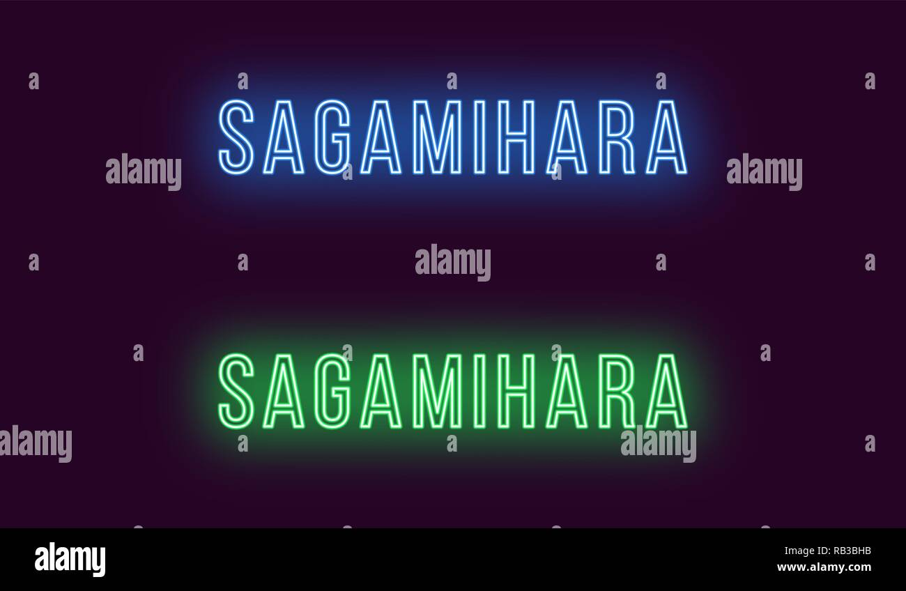 Neon name of Sagamihara city in Japan. Vector text of Sagamihara, Neon inscription with backlight in Thin style, blue and green colors. Isolated glowi - Stock Vector