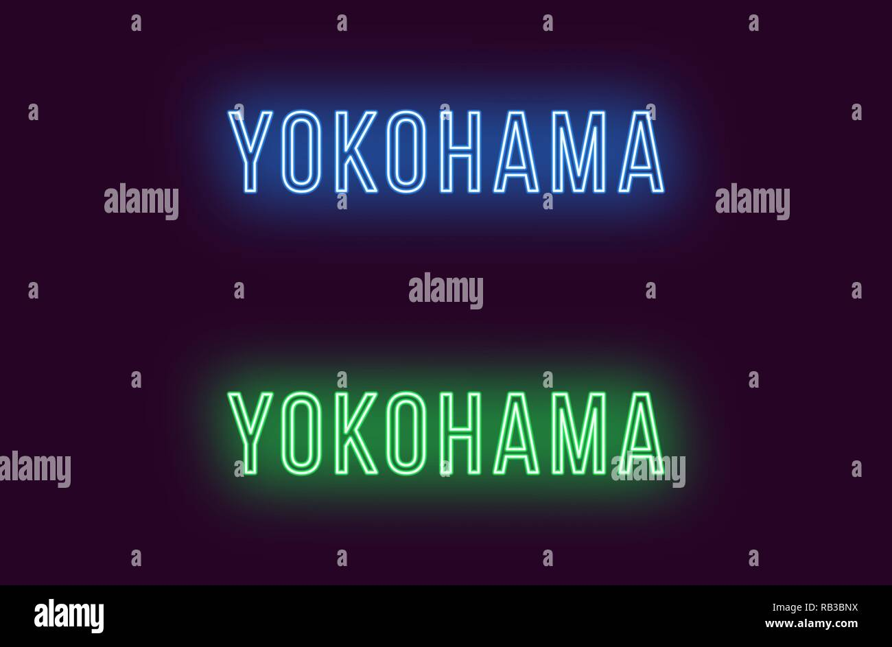 Neon name of Yokohama city in Japan. Vector text of Yokohama, Neon inscription with backlight in Thin style, blue and green colors. Isolated glowing t - Stock Vector