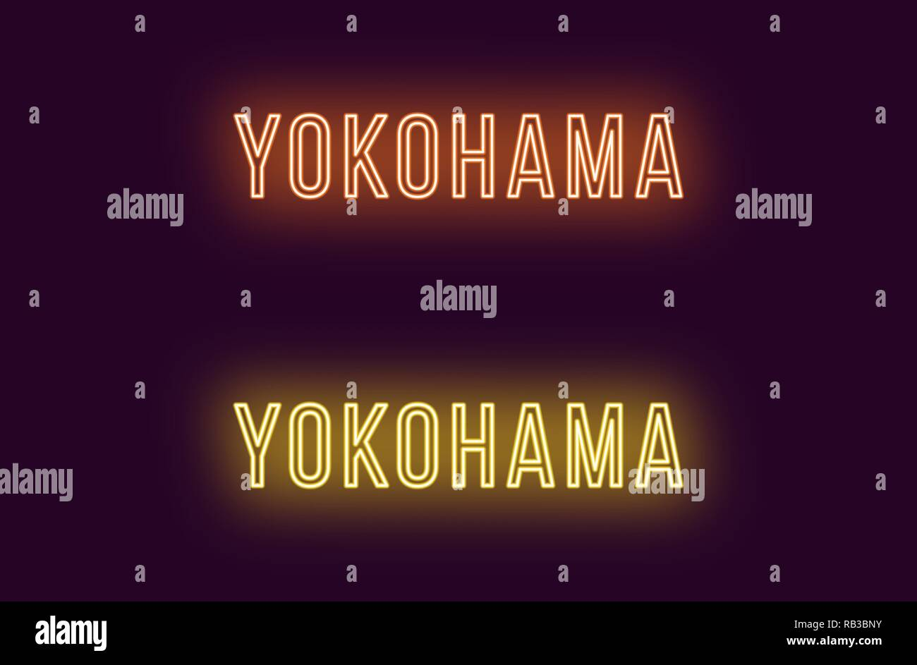Neon name of Yokohama city in Japan. Vector text of Yokohama, Neon inscription with backlight in Thin style, orange and yellow colors. Isolated glowin - Stock Vector