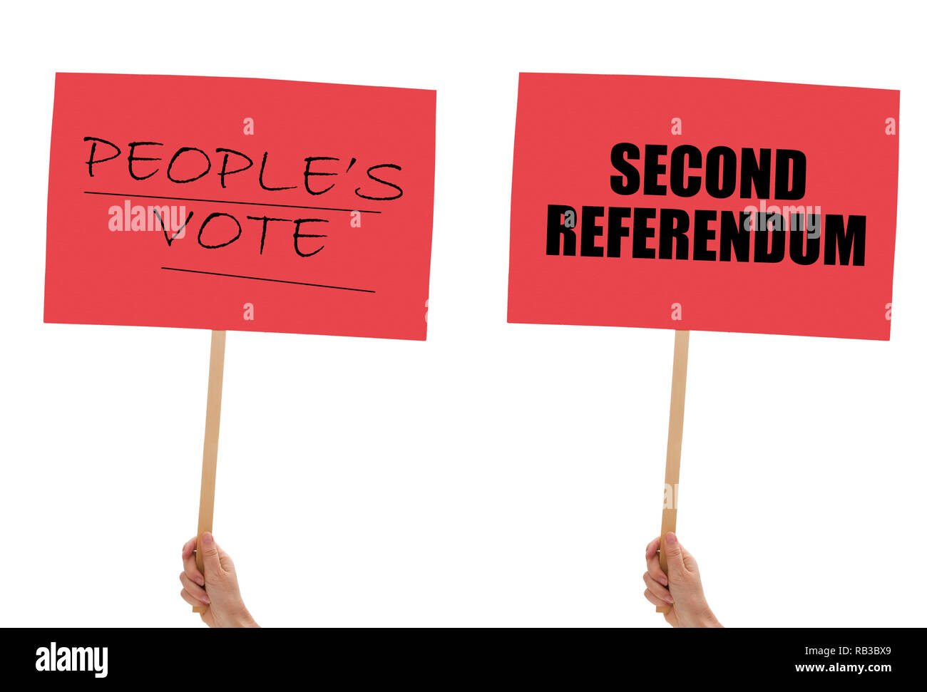 BREXIT banners, placards in hand isolated on white. Remain, second referendum. - Stock Image