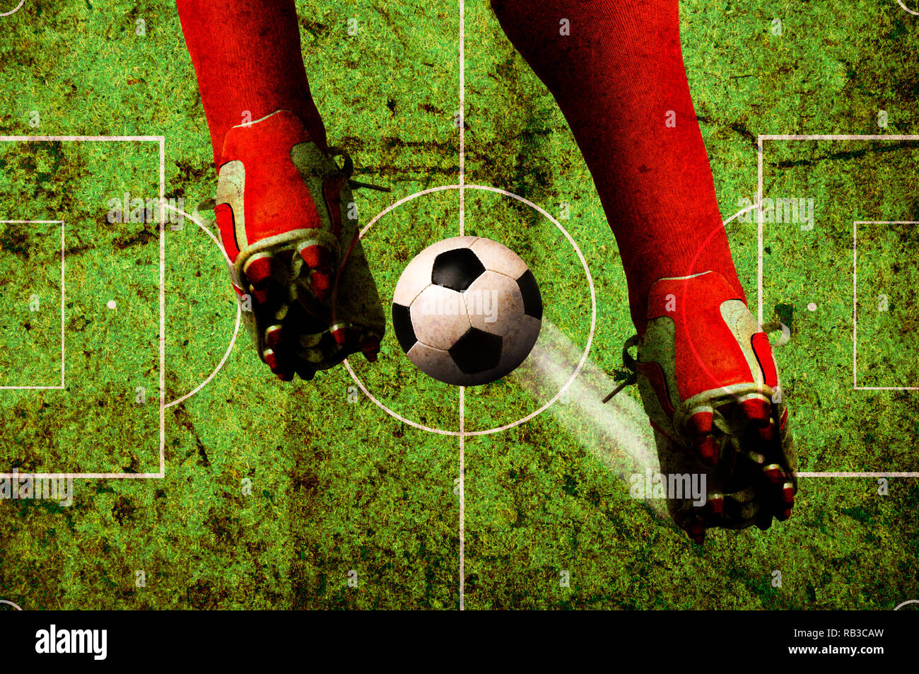 football player legs and ball, soccer concept in grunge style - Stock Image