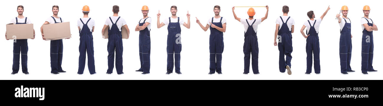 panoramic collage of male handyman isolated on white - Stock Image