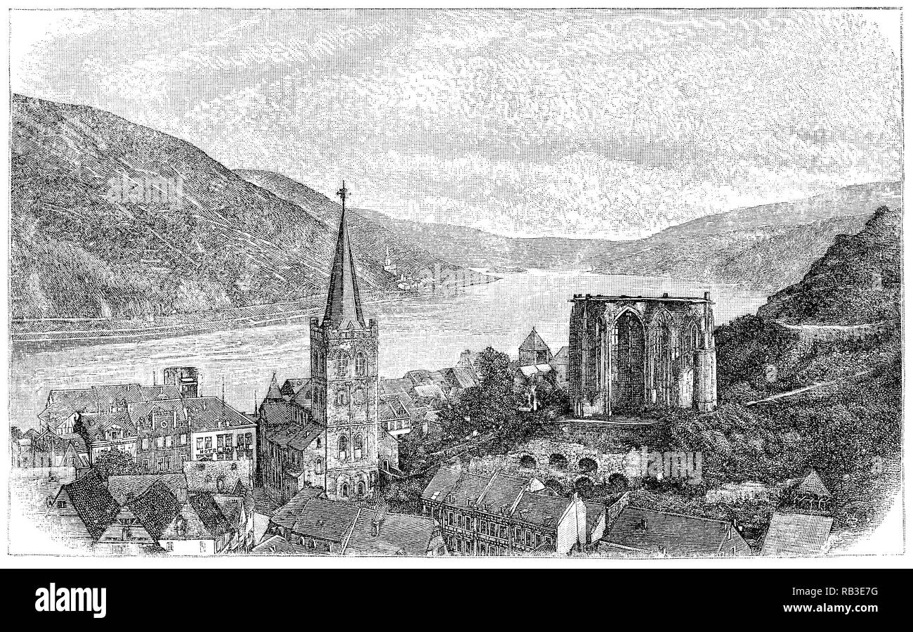 1884 engraving of the town of Bacharach on the River Rhine in Germany, showing the Parish Church of St. Peter in the foreground and the Wernerkapelle in the background. - Stock Image