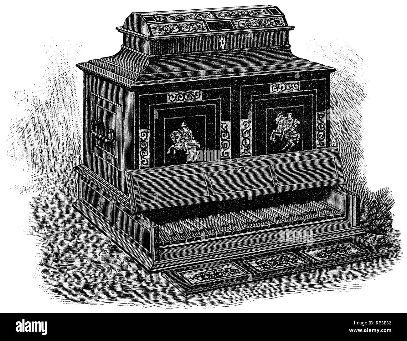 1884 engraving of an Italian-made Octave Virginal in a cabinet from about 1600. - Stock Image