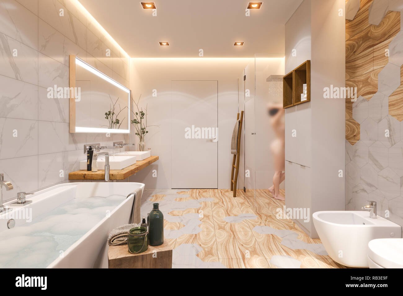 Interior Design Of A Bathroom 3d Illustration In A Scandinavian Style Stock Photo Alamy