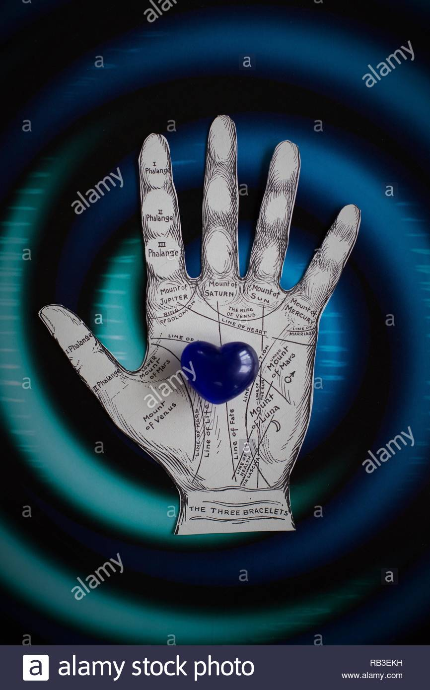 Conceptual: palm reading, fortune telling, and relationships. - Stock Image